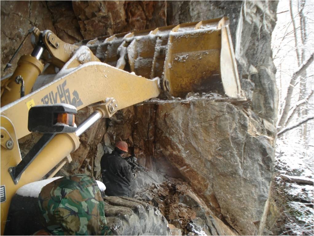Расширение тоннеля до проектного сечения после сбойки на поверхность